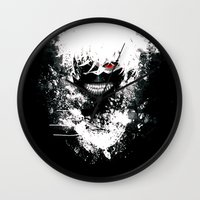 tokyo ghoul Wall Clocks featuring Kaneki Tokyo Ghoul by Prince Of Darkness