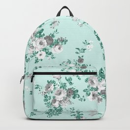 Country chic teal white gray green glitter floral Backpack