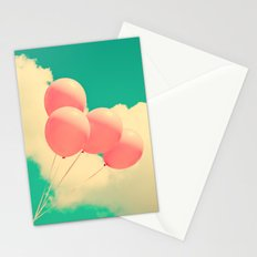 Happy Pink Balloons on retro blue sky  Stationery Cards