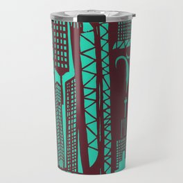 Metropolis [Red / Aqua] Travel Mug