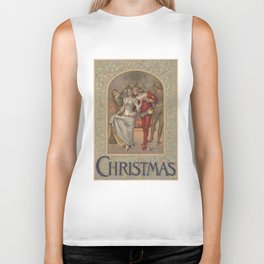 Vintage Christmas Romance Under The Mistletoe (1886) Biker Tank