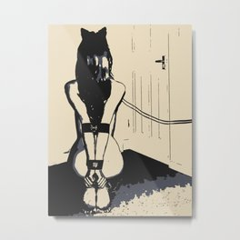 Erotic BDSM art, sexy kitten slave girl, kneeling tied with her leash, nude woman in submissive pose Metal Print