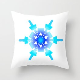 Blue Snowflake Design II Throw Pillow