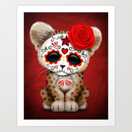 Red Day of the Dead Sugar Skull Leopard Cub Art Print