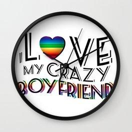 I Love Boyfriend Lgbt Gay Lesbian Rainbow Pride Wall Clock