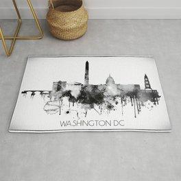 Black and white watercolor Washington skyline Rug