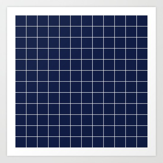 Indigo Navy Blue Grid Art Print