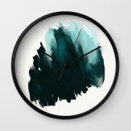 Our trip to the Oregon coast - an aqua blue abstract painting by JulesTillman Wall Clock