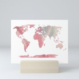 Watercolor Map of World 1 Mini Art Print