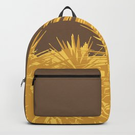 Mustard yucca leaves on toffee background Backpack