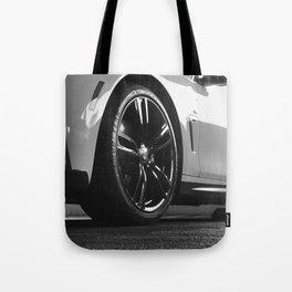 Black Rim Sports Car // White Paint Street Level B&W German Bavarian Motor Automobile Photograph Tote Bag