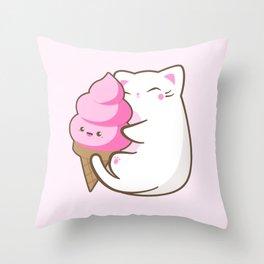 Ice cream lover chubby cat Throw Pillow