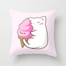 Ice cream lover chubby cat Throw Pillow