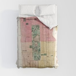 New York Vintage Maps And Drawings Comforters