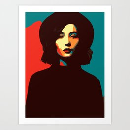 Woman with sereen face, bobline and hat in pop-art / contemporary style Art Print