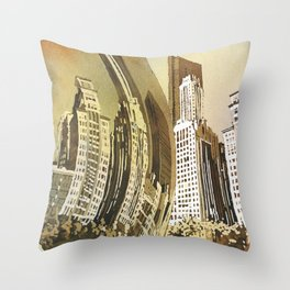 Watercolor painting of Cloud Gate (Chicago Bean) statue and skyscraper skyline in Millennium Park- Throw Pillow