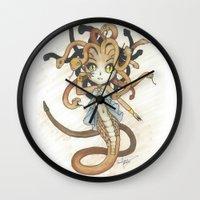 magic the gathering Wall Clocks featuring Snake Token - Magic the Gathering - Pharika by Deadlance