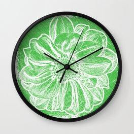 White Flower On Tech Green Crayon Wall Clock