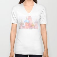 russian V-neck T-shirts featuring Russian Winter by digital2real