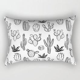 Cactus desert southwest palm springs festival house plant succulent terrarium black and white art Rectangular Pillow