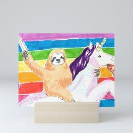sloth and unicorn in rainbow Mini Art Print