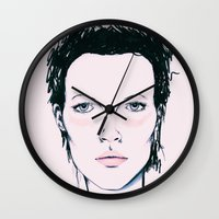 kate moss Wall Clocks featuring Moss by Lexi Edwards