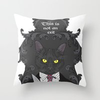 american psycho Throw Pillows featuring American Psycho Kitty by Elisabeth Acerbi
