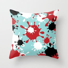 Paint Splatter-Blue+Red+Black Throw Pillow