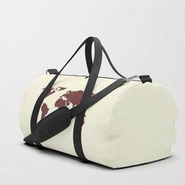 World Map -  Crimson Red on Cream Linen Duffle Bag