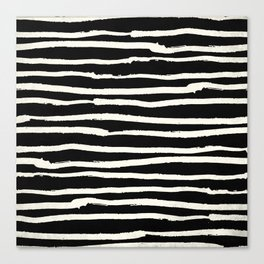 Hand Drawn Stripes on Black Canvas Print