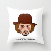 johnny depp Throw Pillows featuring Johnny Depp by Λdd1x7