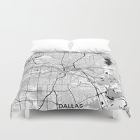 dallas Duvet Covers featuring Dallas Map Gray by City Art Posters