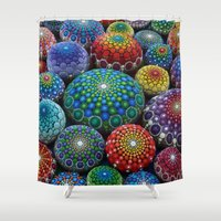stone Shower Curtains featuring Jewel Drop Mandala Stone Collection #1 by Elspeth McLean