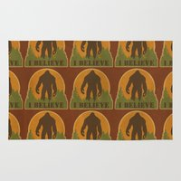 bigfoot Area & Throw Rugs featuring Bigfoot - I believe by Heather Green