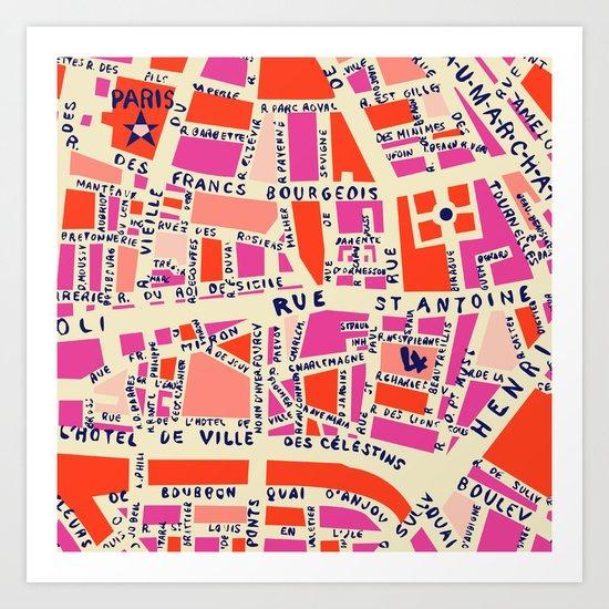 paris map pink by hollizollinger