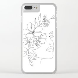 Minimal Line Art Woman Face II Clear iPhone Case