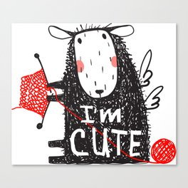 Cute Knitting Crafty Sheep Canvas Print
