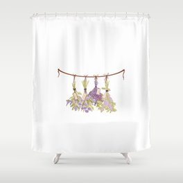 Herbs in Pastel Color Pink Bouquet Shower Curtain
