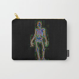rainbow skeleton standing digital illustration colorful pixel magic black Carry-All Pouch