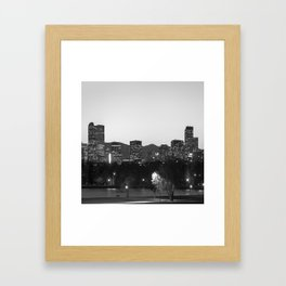 Denver Skyline and Rocky Mountains - Square Art Black and White Framed Art Print
