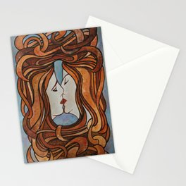 Lesbian Kiss (Art Nouveau Style) Stationery Cards