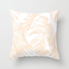 Island Vacation Hibiscus Palm Light Mango Throw Pillow