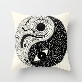 Yin & Yang - [collaborative art with Magdalla del Fresto] Throw Pillow