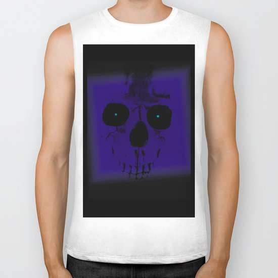 Blue Skull on Black Biker Tank