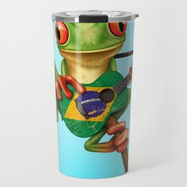Tree Frog Playing Acoustic Guitar with Flag of Brazil Travel Mug