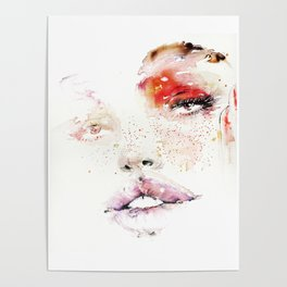 Beauty illustration red makeup Poster