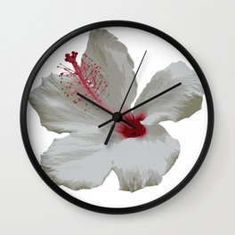 Pure White Hibiscus Tropical Flower Wall Clock