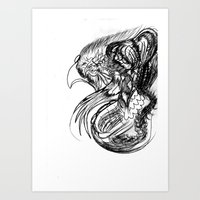 phoenix Art Prints featuring Phoenix. by sonigque