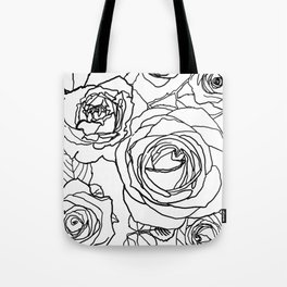 Feminine and Romantic Rose Pattern Line Work Illustration Tote Bag