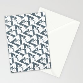 Triangle Optical Illusion Gray Lines Dark Stationery Cards